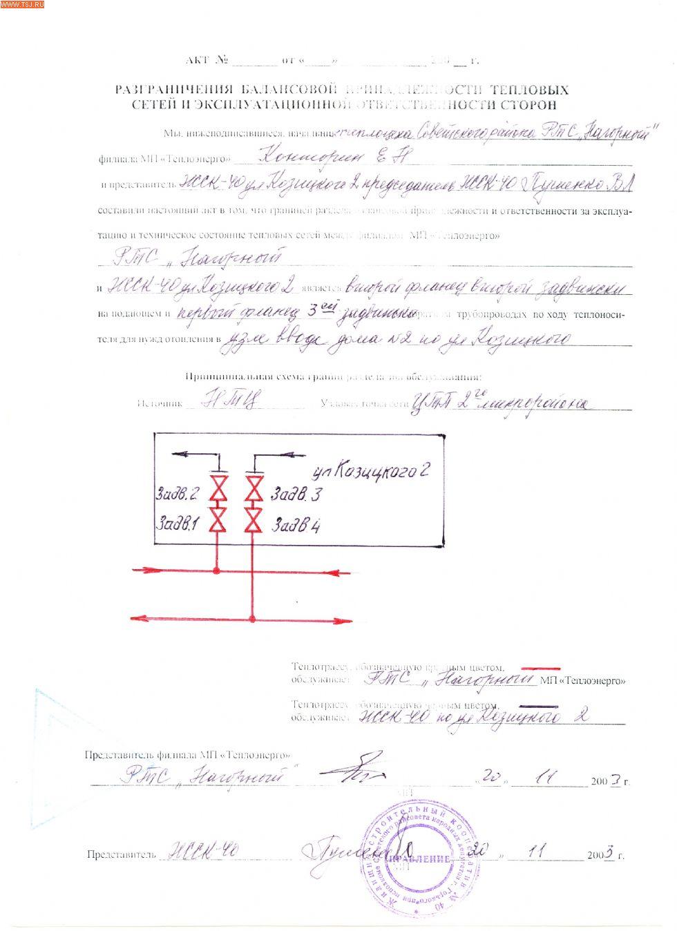Акт Разграничения Балансовой Принадлежности Газопровода Образец